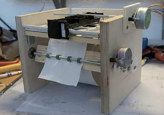 Самодельный принтер из подручных материалов для печати на туалетной бумаге